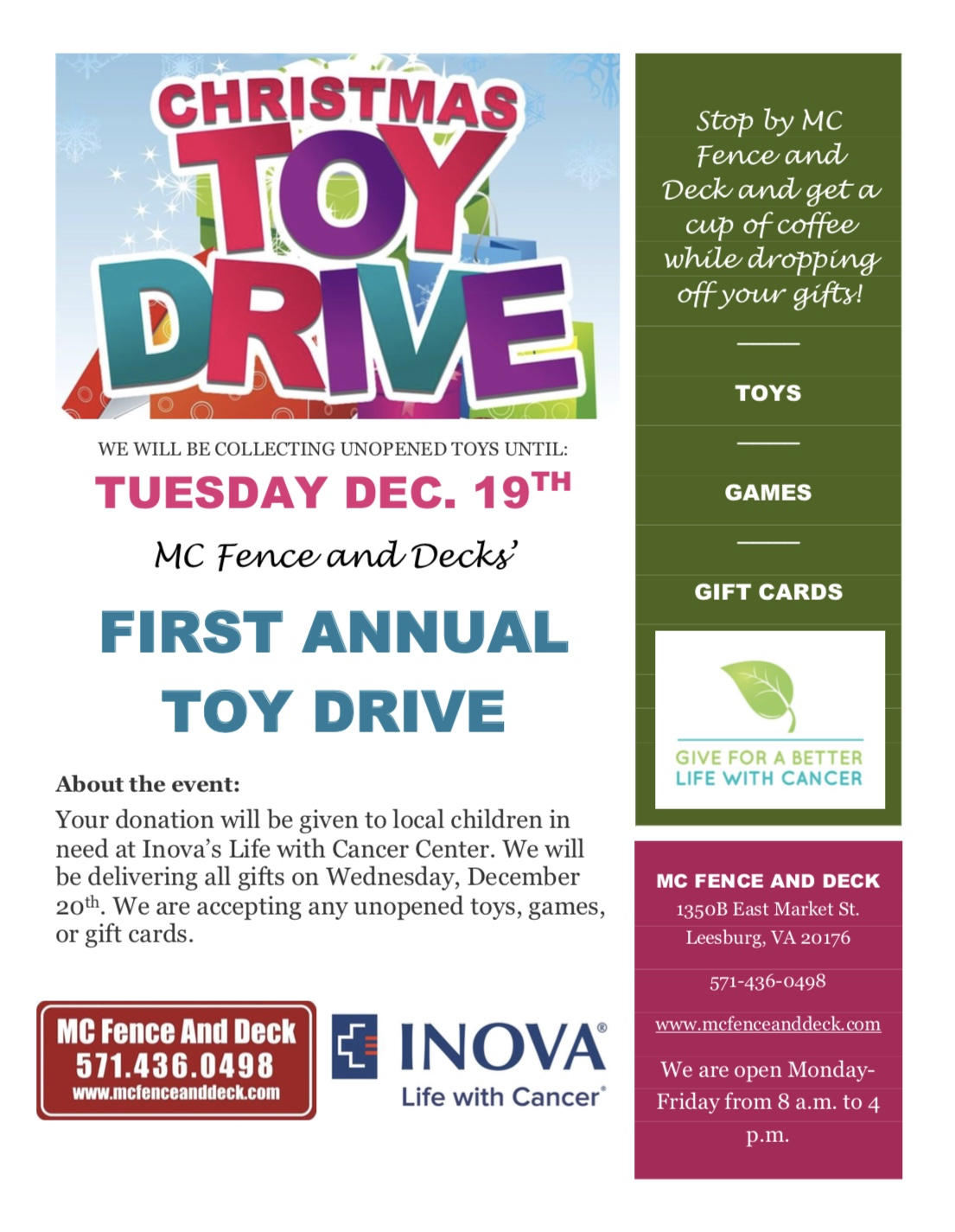 Fencing Contractor Throws 1st Annual Toy Drive News And